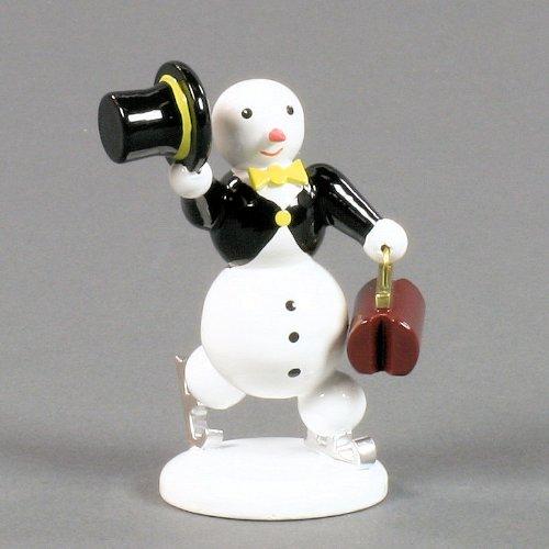 Miniatur Schneemann auf Schlittschuh mit Zylinder - 7cm - Dregeno Erzgebirgische Holzkunst - Artikel 002/32601