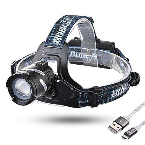 Sunix® Super Lumineux Micro USB Rechargeable LED Phare - 1200 lumen 3 modes d'éclairages, avec Sifflet SOS Parfait pour Courir, Marcher, Camping, Lire, Randonnée, 2 PCS 18650 Batteries rechargeables et câble USB inclus (Noir)