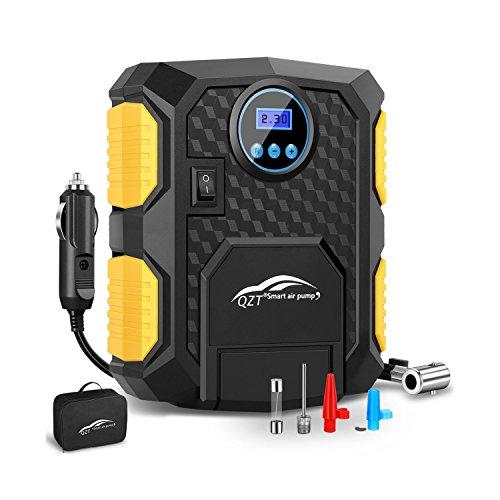 Compresor de Aire, QZT Compresor de aire portátil con Pantalla Retroiluminada y Manómetro Digital, 3 Adaptadores de válvula y LED Lámpara, 3M DC 12V cable del encendedor de cigarrillos