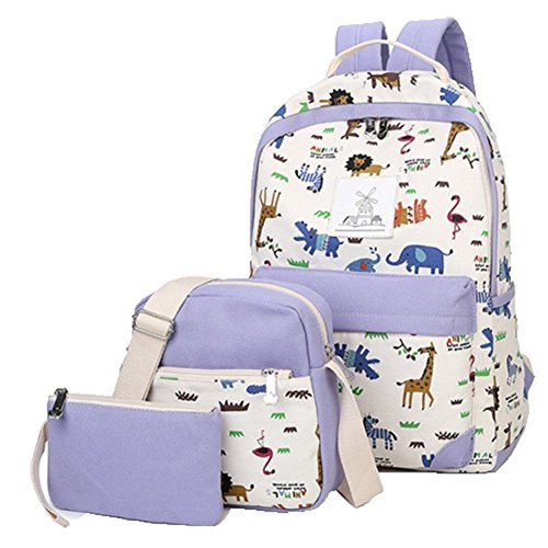 Ohmais 3PCS Rücksack Rucksäcke Rucksack Backpack Daypack Schulranzen Schulrucksack Wanderrucksack Schultasche Rucksack für Schülerin Lina