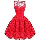SaiDeng Mujer Sin Mangas Fiesta Para Encaje Vestidos Novia Elegante Vestido Rojo XL