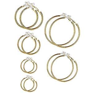 6 Paar Hoop Ohrringe Clip On Ohrringe Nicht Piercing Ohrringe Set für Damen und Mädchen, 6 Größen
