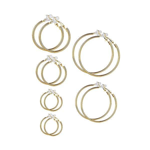 6 Pairs Hoop Earrings Clip On Earrings Non Piercing Earrings Set for Women and Girls, 6 Sizes 51fPwvwHFSL