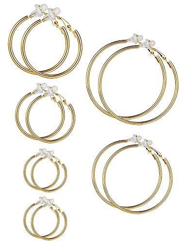 fake creolen 6 Paar Hoop Ohrringe Clip On Ohrringe nicht Piercing Ohrringe Set für Damen und Mädchen, 6 Größen (Gold Farben)
