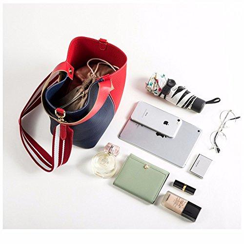 Womens Soft Borsette in pelle multicolor borsa a tracolla viaggiare TotesLeather sacchetto femmina,rosso e blu Rosso e blu