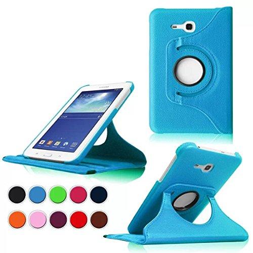 Samsung Tab 3 Lite 7.0 Case,Hellblau 360° Drehbares Ledertasche Schutzhülle Leder Tasche Samsung Galaxy Tab 3 Lite 7.0 T110 T111 (7 Zoll) Hülle Leder Etui Flip Case Cover mit Schwenkbar flexiblem Ständer
