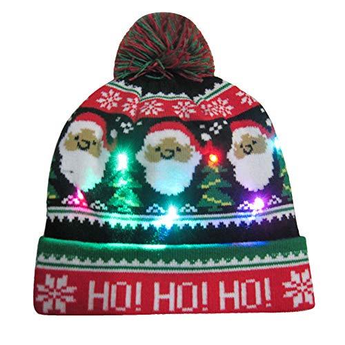 Weihnachten Led Mütze Geili Led Hüte Partyhut leuchtende Strickmütze Geburtstag Hut Wintermütze Weihnachtsmütze als Geschenk für Damen Herren Unifarbene leuchtende Skimütze Funny Mütze