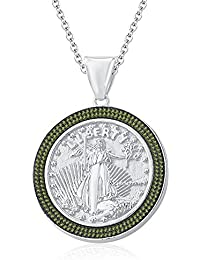 "Silvernshine 1.35 Ct Round Peridot Liberty Coin Pendant 18"" Chain In 14K White Gold Fn"