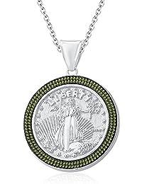 "Silvernshine 1.35 Ct Round Peridot Liberty Coin Pendant 18"" Chain In 14K White Gold Fn"