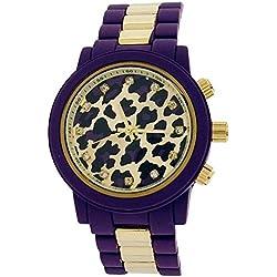 Softech Ladies Leopard Dial Purple Rubberised Metal Bracelet Strap Watch B396