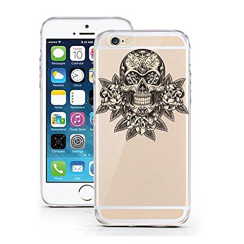 "licaso® iPhone 5 5SE 4"" TPU Hülle Sketch Case transparent klare Schutzhülle Affe Dreieck Schimpanse Disney Hülle iphone5 Tasche Cover (iPhone 5 5S SE, Affe Dreieck) Skull Rose"