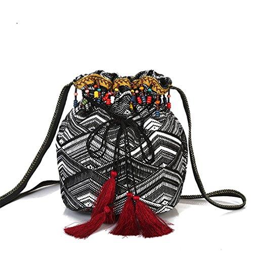 Frauen Schulter Cross Body Bucket Bag Quaste Fringe Perlen Bohemian Taschen Women Bag 2 (Tote Bag Kurze Nylon)