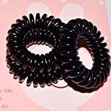 Miya Set of 3 Mini Spiral / Telephone Cable Scrunchies / Bracelets / Hairbands Stretchy Black Plastic