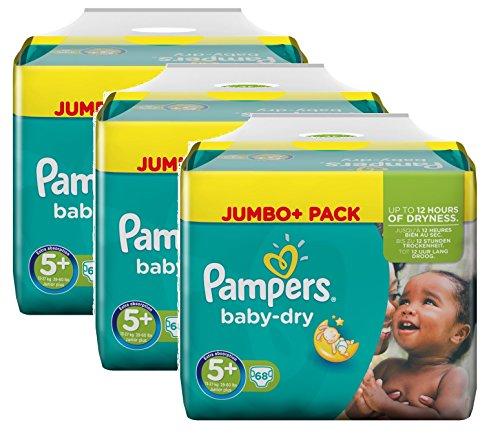 Pampers Baby Dry Größe 5+ Junior Plus 13-27kg Jumbo Plus Pack (3 x 68 Windeln)