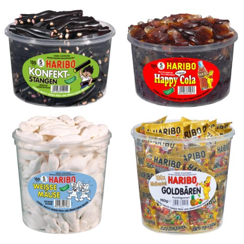 Haribo Best-of Set, Gummibärchen 4 Sorten (Goldbären, weiße Mäuse, Happy Cola & Konfekt-Stangen)