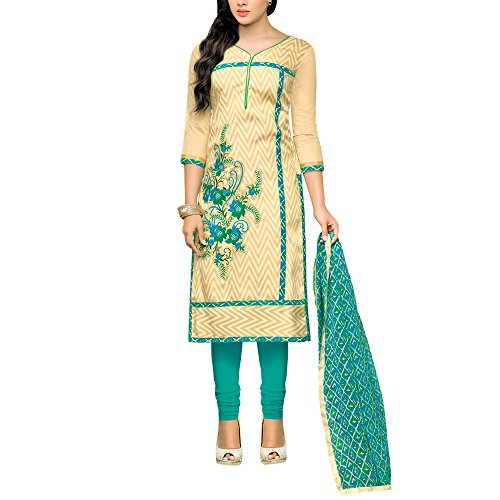 Applecreation Dress material for women's Beige Embellished Embroidered Chanderi Cotton Salwar Kameez...