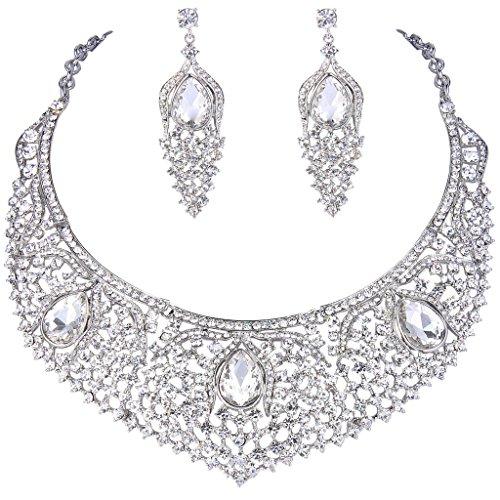 EVER FAITH Silver-Tone austriaco strappo nozze di cristallo floreale goccia collana Orecchini set Cancella N06826-4