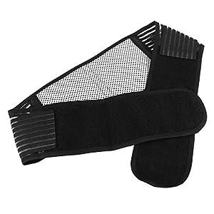 Healifty Magnetischer Wärmebund Selbsterhitzungstherapie Rückenstütze Lendenwirbelsäule Brace Schwarz Größe L