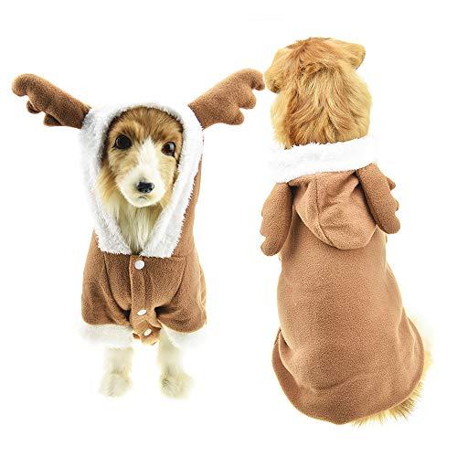 FLAdorepet Weihnachts-Elch-Kostüm für große Hunde, mit Geweih, warm, Fleece, Winterjacke für mittelgroße und große Hunde, 4XL, Brown Elk (Einer Sie Ein Kaufen Art Von Halloween-kostüme)