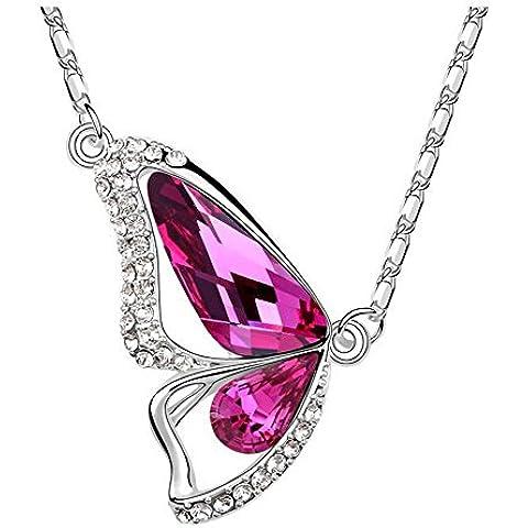 La Noche Estrellada los amantes mariposa de cristal de color rosa de 18quilates chapado en plata 18K collar de insectos para las mujeres de moda