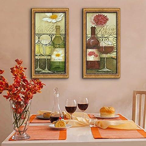 modylee vino con telone Video decorativa dipinti soggiorno, camera PC 2tela pittura a olio, Gold,