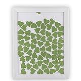Gästebuch Bilderrahmen Rahmen in 40x50cm Geschenk zur Hochzeit mit 65 Herzen in Blassgrün Grün mit ca. 5 cm Breite zum beschriften