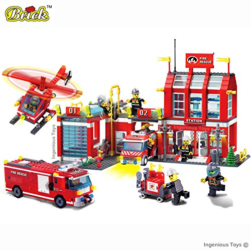 Large-Fire-Station-Engine-Helicopter-Firemen-Super-Pack-Brand-New-980pcs-compatible-building-blocks-construction-set-911