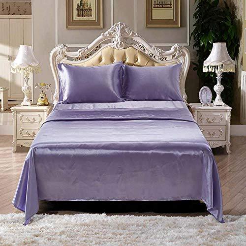 4 Stück Satin Seide Bettlaken Weiche Königin King Bett ausgestattet Bettlaken Set Bohemian Bettwäsche Heimtextilien Blatt Set @ Purple_Queen (Seide Blatt Ausgestattet King)