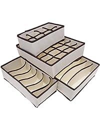 FINEJO 4 PCS Set Foldable Organizer Storage Box For Bra Ties Underwear Socks