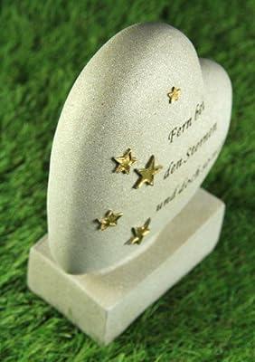 Grabherz mit Sternen und Aufschrift von friedhofskerze.de auf Du und dein Garten