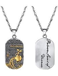 PROSTEEL Collar de Placa de Zodiaco Horóscopo con Santo del Mes, 12 Horóscopos Chapado en Oro