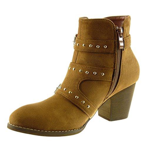 Angkorly - damen Schuhe Stiefeletten - Biker - Reitstiefel - Kavalier - Nieten - besetzt - String Tanga - Schleife Blockabsatz high heel 7 CM Camel