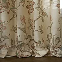 MZMZ Warm Protecting & Noise Reducting (Two Panels) Country Summer Floral Energy Saving Lined Curtain , Yes - Beige Lining-Tab Top by MZMZ
