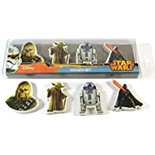 4 x Official Licensed DISNEY STAR WARS Erasers Chewbacca R2D2 Darth Vader Yoda Party Bags
