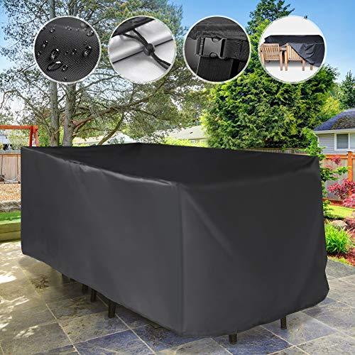 YISSVIC Cubierta de Muebles de Jardín Fundas de Muebles Impermeable Resistente al Polvo Anti-UV Protección Exterior Muebles de Jardín Cubiertas de Mesa y Silla Negro 242 * 162 * 100cm