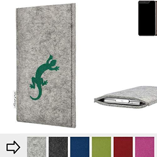 flat.design Handy Hülle FARO für Allview X4 Xtreme Made in Germany Handytasche Filz Tasche Case Gecko grün fair