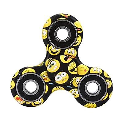 Sansee Tri-Spinner Fidget Multi-Color Hand Spinner Camouflage EDC Focus Toys (Black)