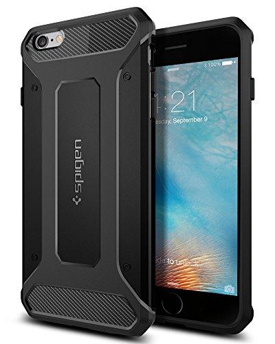 Spigen SGP11643 Rugged Armor Kompatibel mit iPhone 6S Plus Hülle, Robuste TPU Silikon Schwarz Schutzhülle Stylisch Karbon Handyhülle Case Schwarz