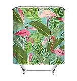 LB Tropisch Rosa Flamingo Duschvorhang mit Haken, 150W * 180H cm Sommer Urwald Regenwald Blätter Badvorhänge für Wohnkultur, Anti-Schimmel Wasser Beständig Waschbar Polyester Stoff