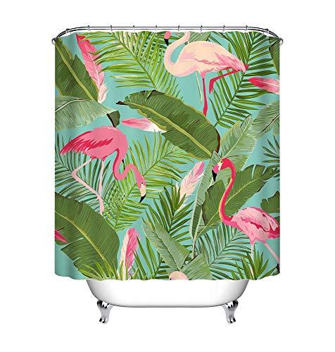 LB Tropisch Rosa Flamingo Duschvorhang mit Haken, 150W * 180H cm Sommer Urwald Regenwald Blätter Badvorhänge für Wohnkultur, Anti-Schimmel Wasser Beständig Waschbar Polyester Stoff (Flamingo Duschvorhang)