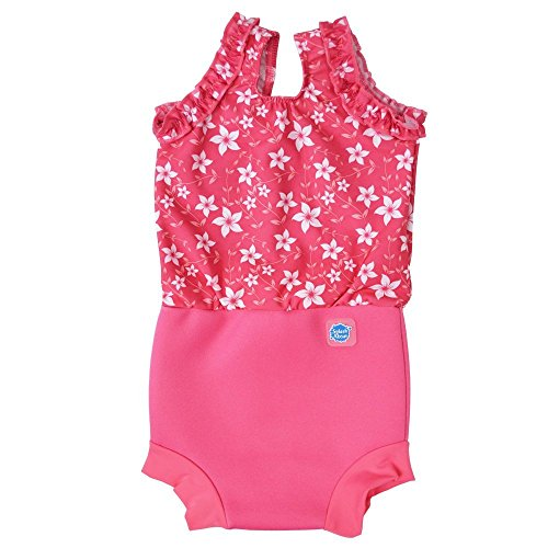 Sonnenschutz Kostüm Baby - Splash About Babys Mädchen Happy Nappy Kostüm-Muster Pink Blossom, Medium/3-8Monate