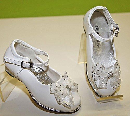 Chaussure Fille Mariage Baptême Cérémonie Noeud Satin Strass simili cuir ! Blanc écru