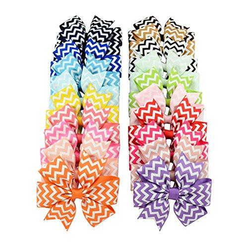 OULII Boutique capelli archi ragazze bambini bambini Alligator clip Grosgrain Ribbon fasce confezione da 20 - Grosgrain Clip Arco