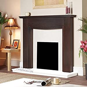 Electric Mango Wood Surround Spotlights White Hearth Back Panel Wall Modern Fire Fireplace Suite Large Lights Big 54""