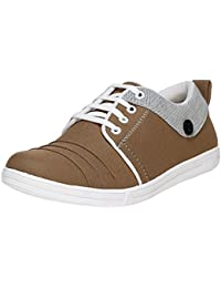 UrbanwhiZ Stylish Grey Blue Brown Casual Corporate Party Wear Canvas Lace-Up Derby Shoes For Men