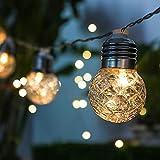 10 LED Solar Lichterkette Garten Außen Solarlampen, 3 Modi, 3.8 Meter und Wasserdicht Solar Beleuchtung Kugel | AOLVO Lichtsensor Beleuchtung Deko für Garten, Terrasse, Hof