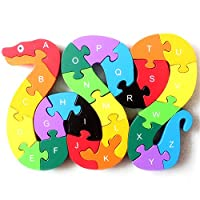 Colourful 2 in 1 Wooden 3D Animal Alphabet & Numbers Jigsaw Puzzle - Building Blocks Educational Toys Children Toddle Learning Toy - Best Kids Gift