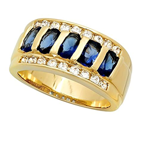 Gold Plated Channel Set Blue Oval & Clear Round CZs Band Ring, Size 4