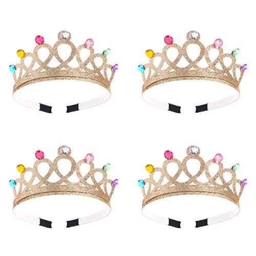 Frcolor Geburtstags-Kronen-Tiara-Stirnband-Partei-Bevorzugungen für Mädchen und Jungen (Gold), 4pcs