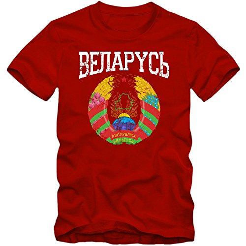 Weißrussland Wappen T-Shirt | Weißrussland | Republik Belarus | Minsk | Herrenshirt © Shirt Happenz Rot (Red L190)